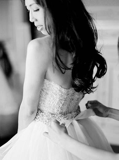 Getting ready shot of bride in destination wedding in Paris | Fine art film photographer Peaches & Mint