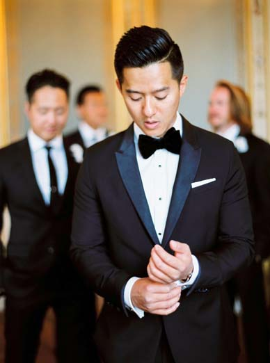 Classic tuxedo and bowtie for groom style | Fine art film wedding photographer Peaches & Mint