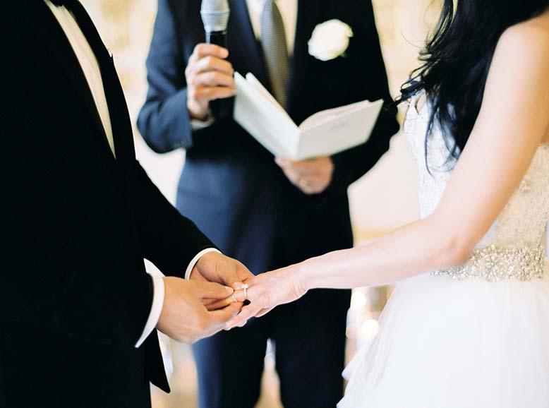 Ring exchange + elegant Paris wedding inspiration | Fine art film wedding photographer Peaches & Mint