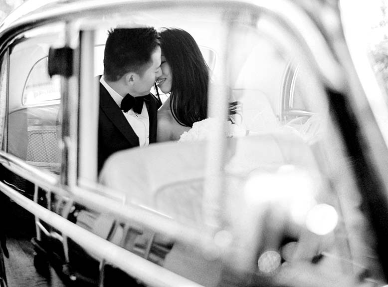 Wedding getaway car + vintage wedding car | Fine art film wedding photographer Peaches & Mint