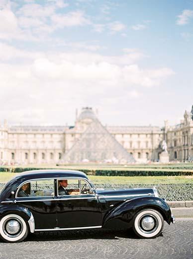 Vintage bridal getaway car in Paris | Fine art film photographer Peaches & Mint