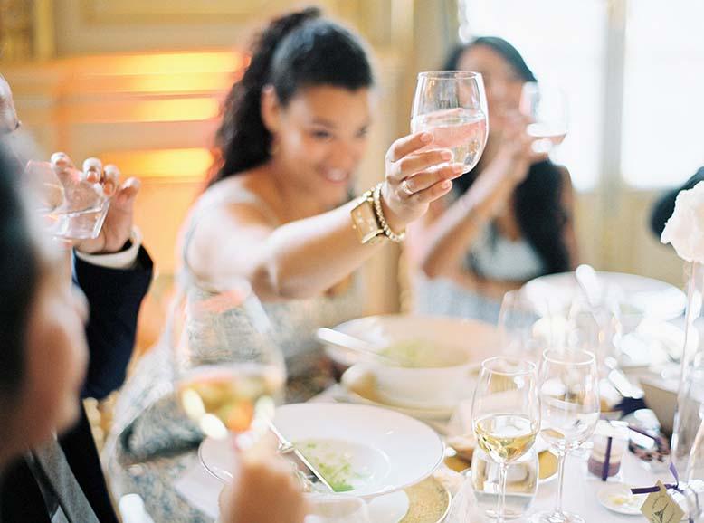 Elegant wedding reception in Paris | Fine art film wedding photographer Peaches & Mint
