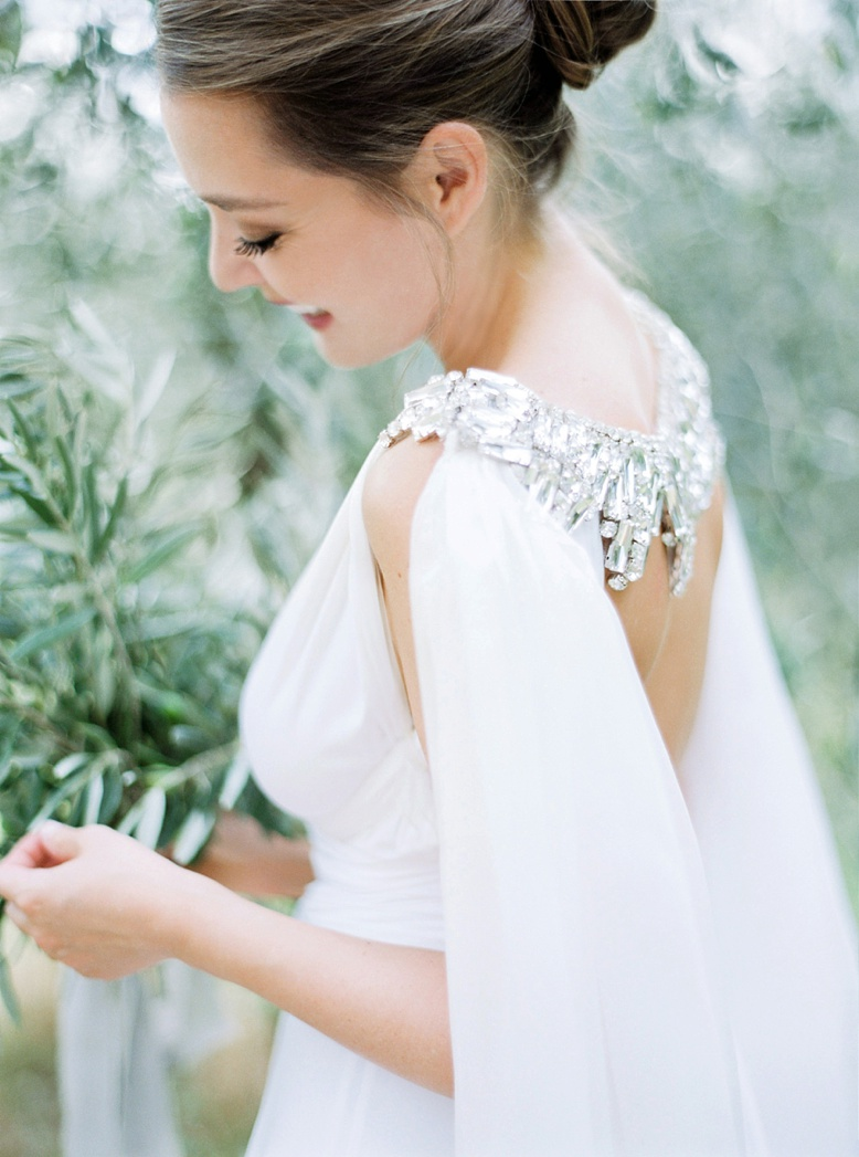 Editorial wedding photography Tuscany by Peaches & Mint, Gibson Bespoke Couture Necklace & Cape, Twobirds Dress