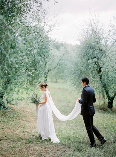 Olive Grove Wedding Inspiration Tuscany, Comme Soie Styling, Peaches & Mint Finest Film Photography Europe, Gibson Bespoke Couture Necklace & Cape, Twobirds Dress
