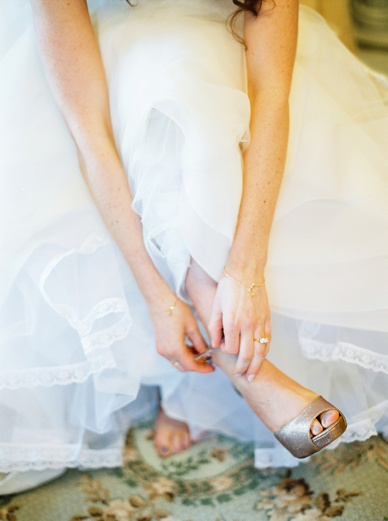 Golden wedding shoes photography by peaches & mint