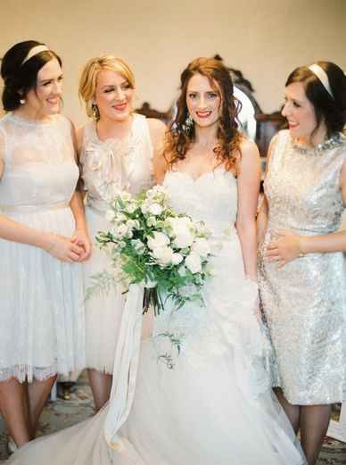 Golden winter wedding with mixmatched bridesmaids