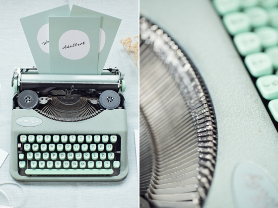 Hermes Baby typwriter and 50s wedding stationery
