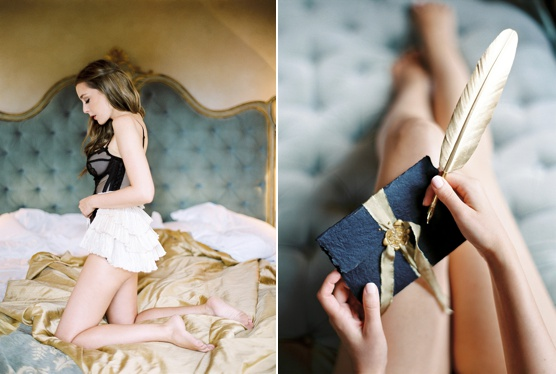 Luxurious italian glamour honeymoon boudoir session
